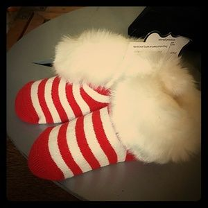 Holiday faux fur baby socks
